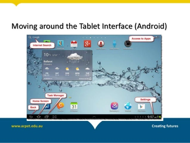 Moving around the Tablet Interface (Android)