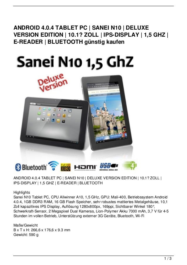 ANDROID 4.0.4 TABLET PC | SANEI N10 | DELUXEVERSION EDITION | 10.1? ZOLL | IPS-DISPLAY | 1,5 GHZ |E-READER | BLUETOOTH gün...