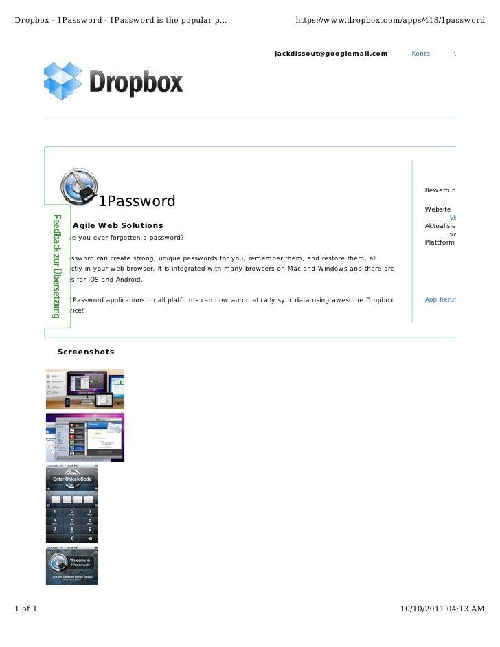 Dropbox - 1Password - 1Password is the popular p...                            https://www.dropbox.com/apps/418/1password ...