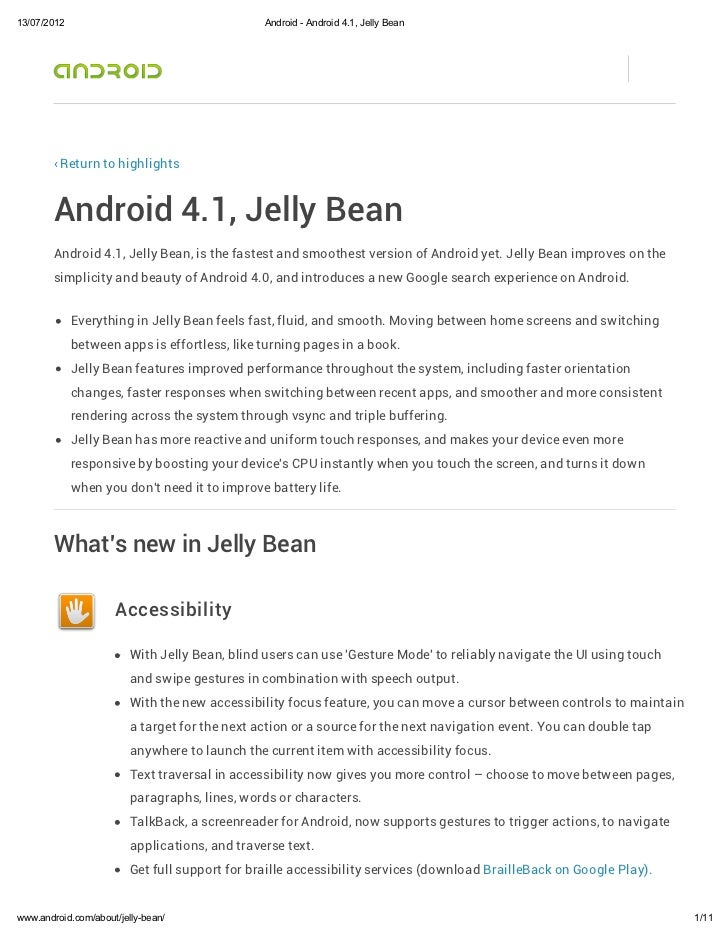 13/07/2012                                      Android - Android 4.1, Jelly Bean        ‹ Return to highlights        And...