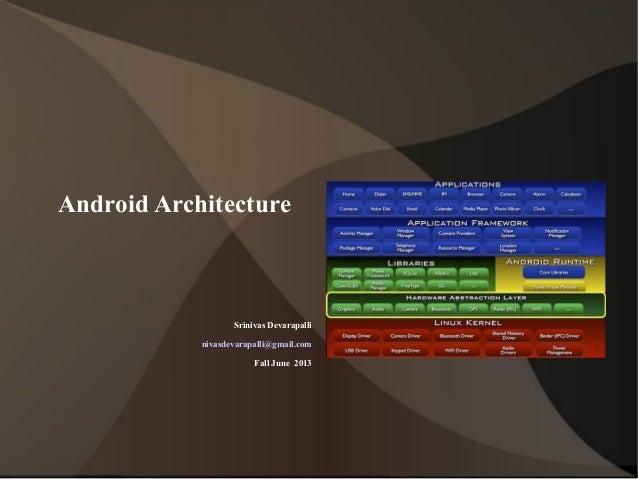 Android ArchitectureSrinivas Devarapallinivasdevarapalli@gmail.comFall June 2013