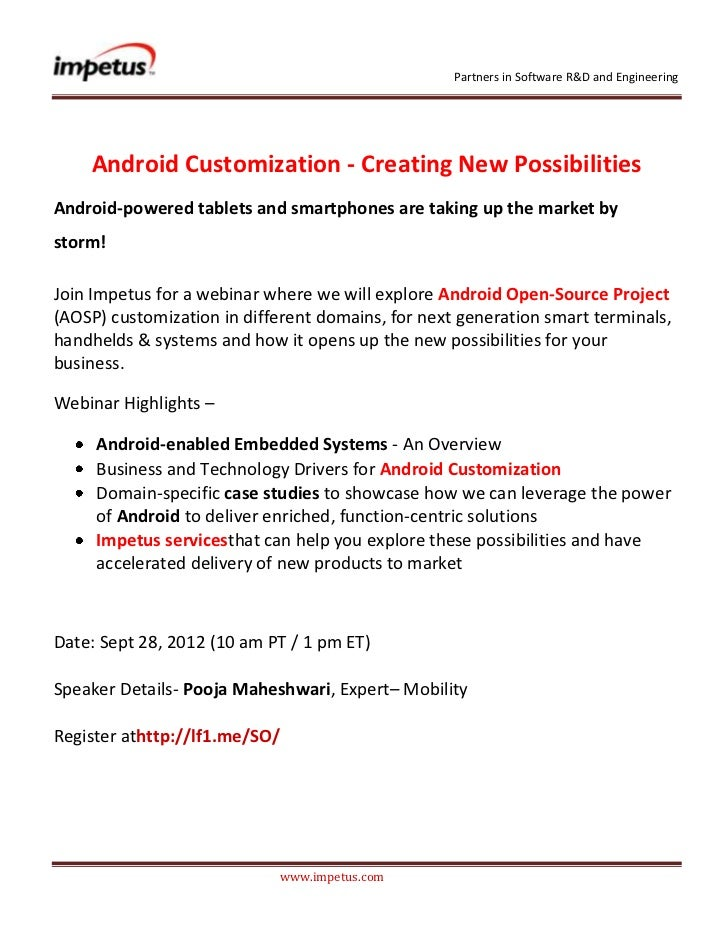 Partners in Software R&D and Engineering    Android Customization - Creating New PossibilitiesAndroid-powered tablets and ...