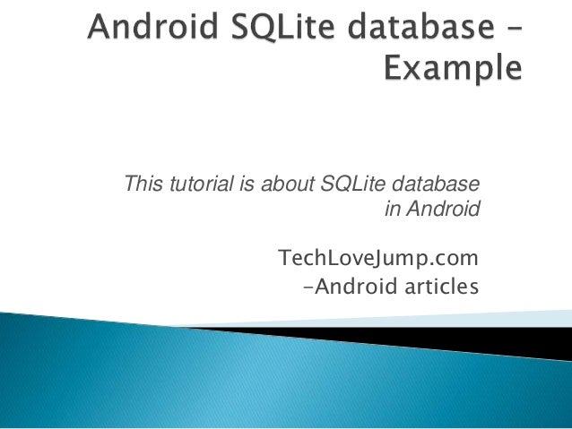 Android SQLite Manager