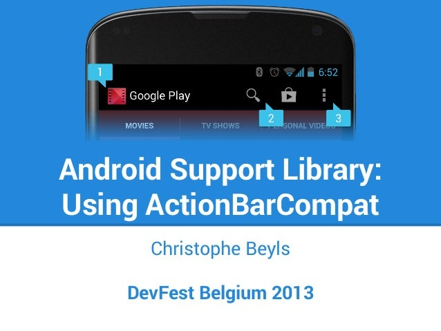 Android Support Library: Using ActionBarCompat Christophe Beyls DevFest Belgium 2013