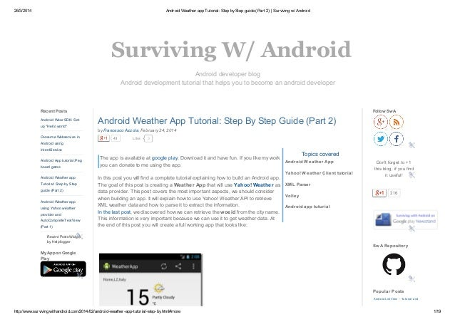 26/3/2014 Android Weather app Tutorial: Step byStep guide (Part 2) | Surviving w/ Android http://www.survivingwithandroid....