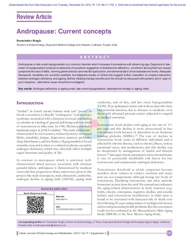 Andropause --current concepts