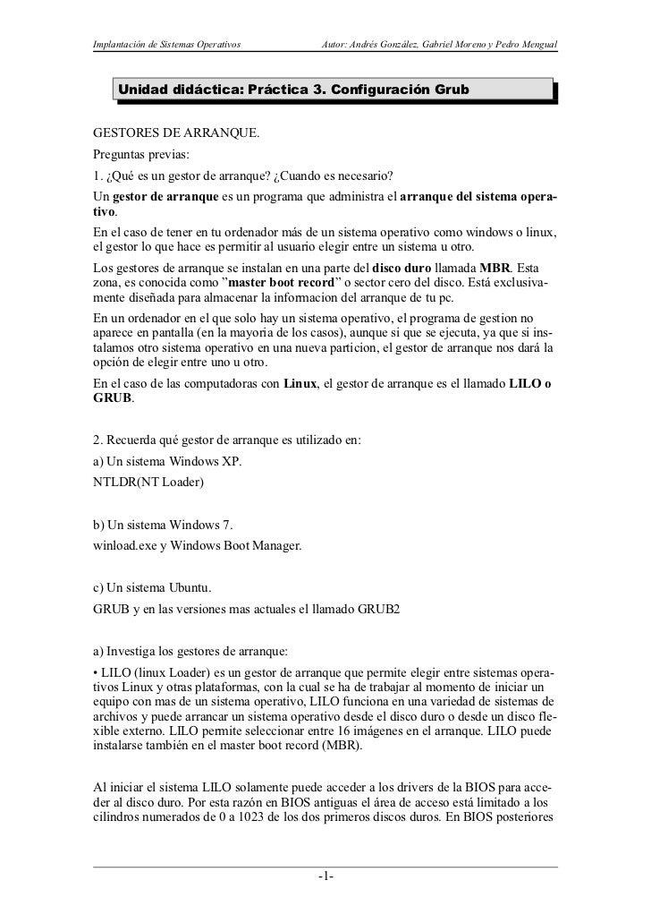 Implantación de Sistemas Operativos         Autor: Andrés González, Gabriel Moreno y Pedro Mengual     Unidad didáctica: P...