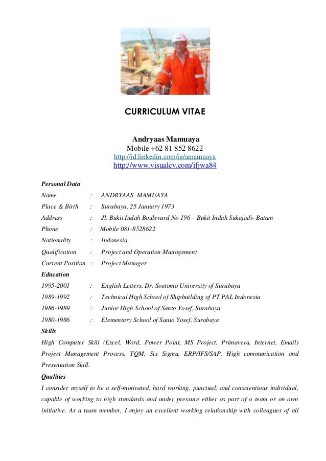 Andryaas Project Manager Cv 2012 . Sample Resume For Construction Project  Manager  Construction Project Manager Resumes