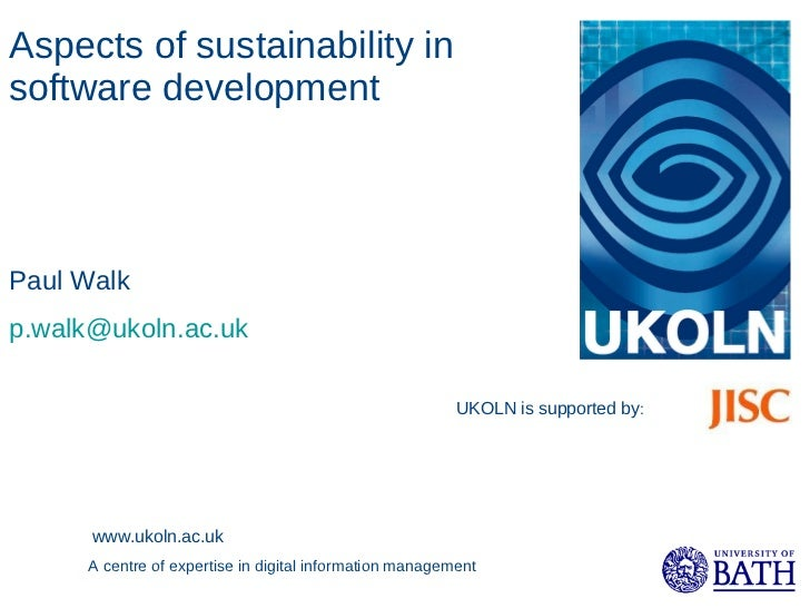 Aspects of sustainability in software development