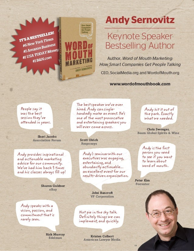 Andy Sernovitz Keynote Speaker Bestselling Author Author, Word of Mouth Marketing: How Smart Companies Get People Talking ...