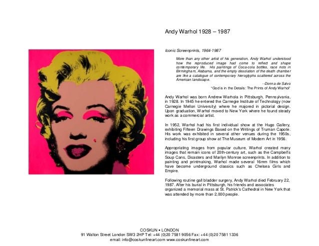 Andy Warhol 1928 – 1987                                           Iconic Screenprints, 1964-1987                          ...