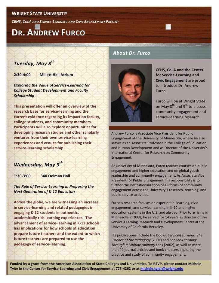 WRIGHT STATE UNIVERSTIYCEHS, COLA AND SERVICE-LEARNING AND CIVIC ENGAGEMENT PRESENT              DR. ANDREW FURCO         ...