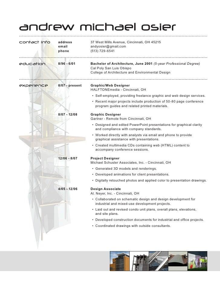Architect Resume architect resume le classeur com Solution Architect Resume Sample Address 37 West Mills Avenue Cincinnati Oh 45215email Andyosier