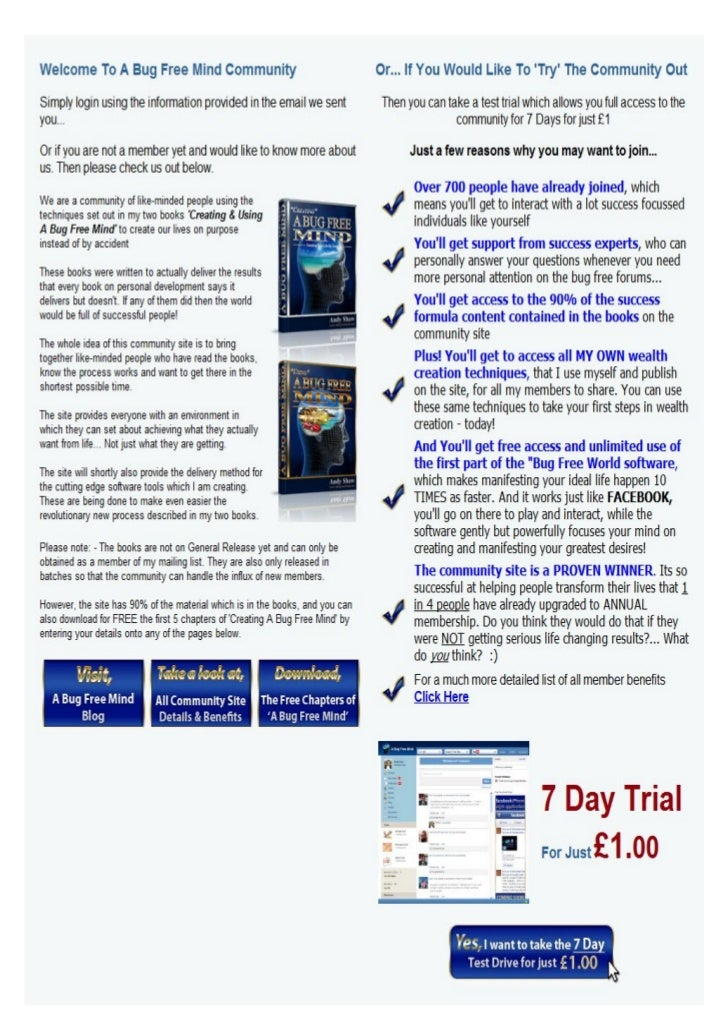 Andy shaw bug free mind info and trial offer
