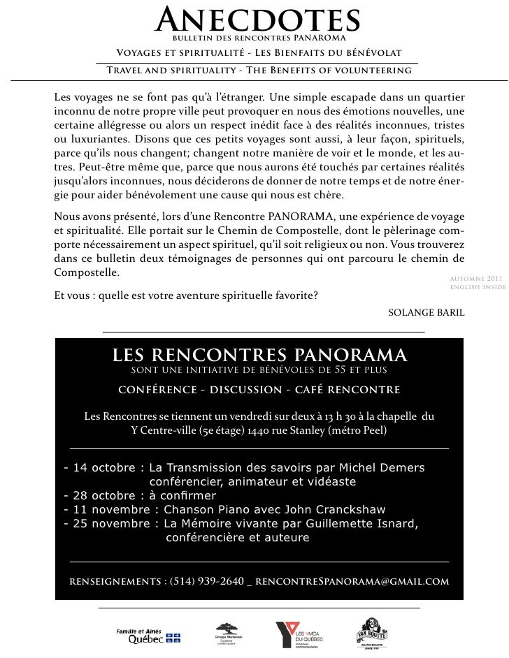 Anecdotes                         bulletin des rencontres PANAROMA             Voyages et spiritualité - Les Bienfaits du ...