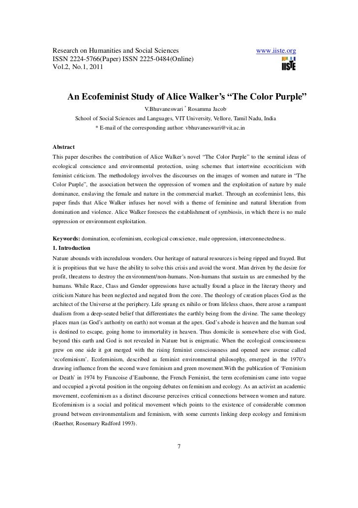 An ecofeminist study of alice walker the color purple