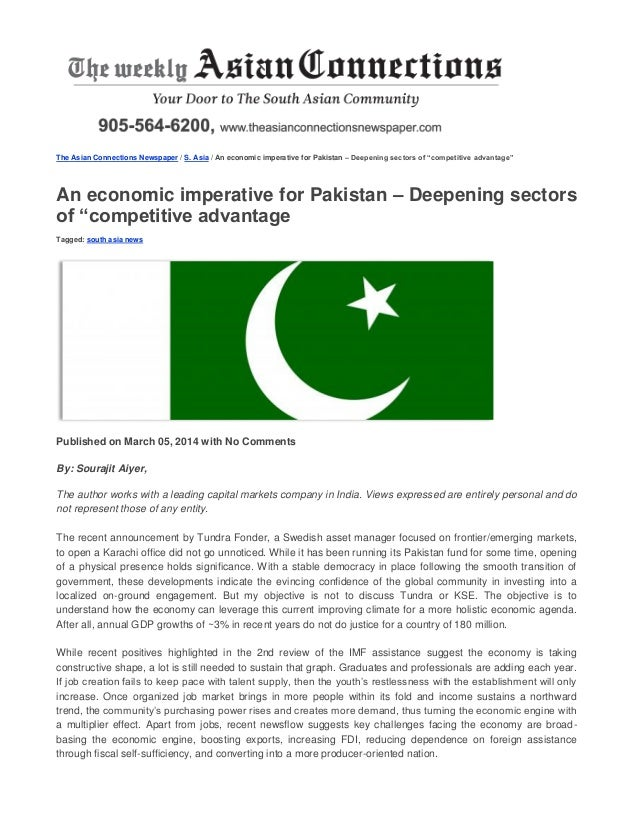 """The Asian Connections Newspaper / S. Asia / An economic imperative for Pakistan – Deepening sectors of """"competitive advant..."""