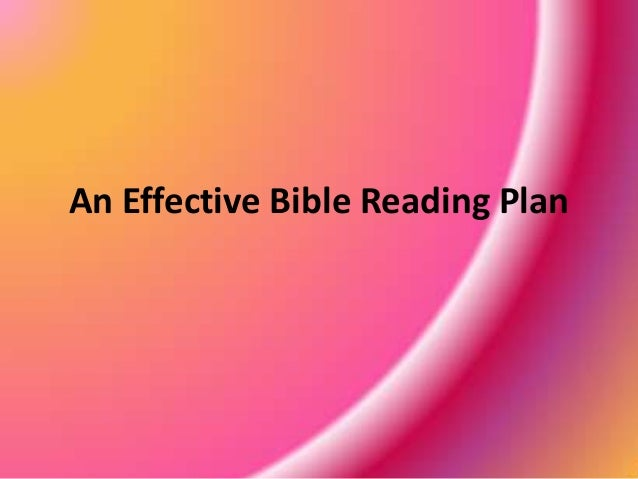 An Effective Bible Reading Plan