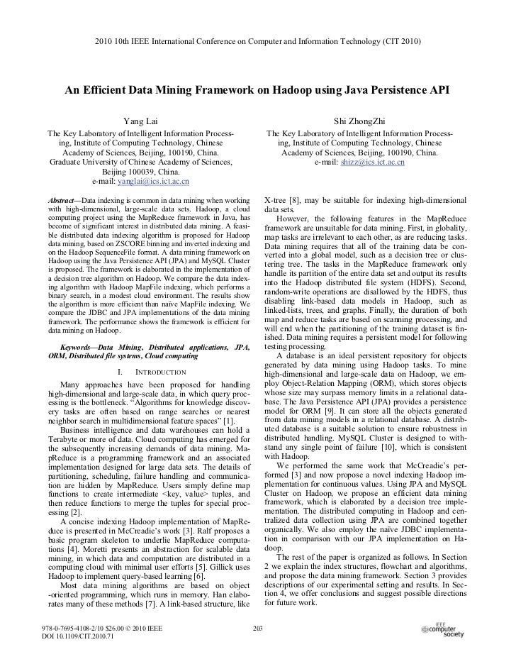 2010 10th IEEE International Conference on Computer and Information Technology (CIT 2010)       An Efficient Data Mining F...