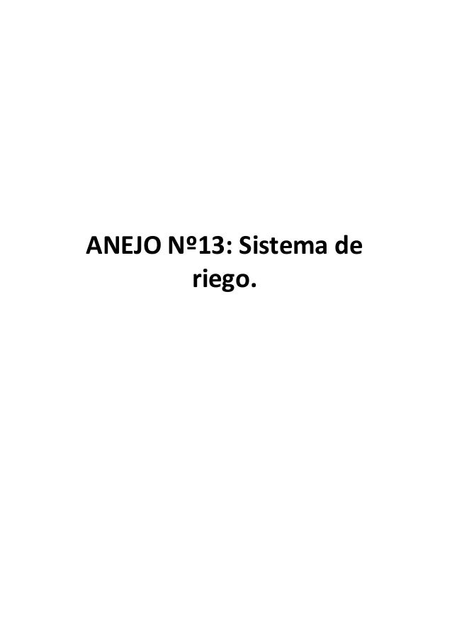 ANEJO Nº13: Sistema deriego.