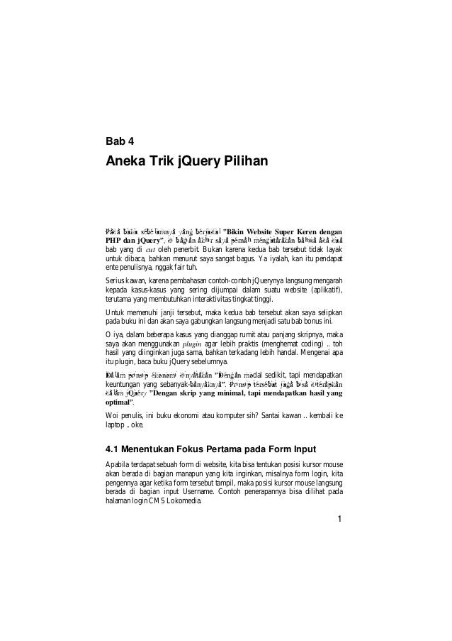 """Bab 4Aneka Trik jQuery PilihanPada buku sebelumnya yang berjudul """"Bikin Website Super Keren denganPHP dan jQuery"""", di bagi..."""