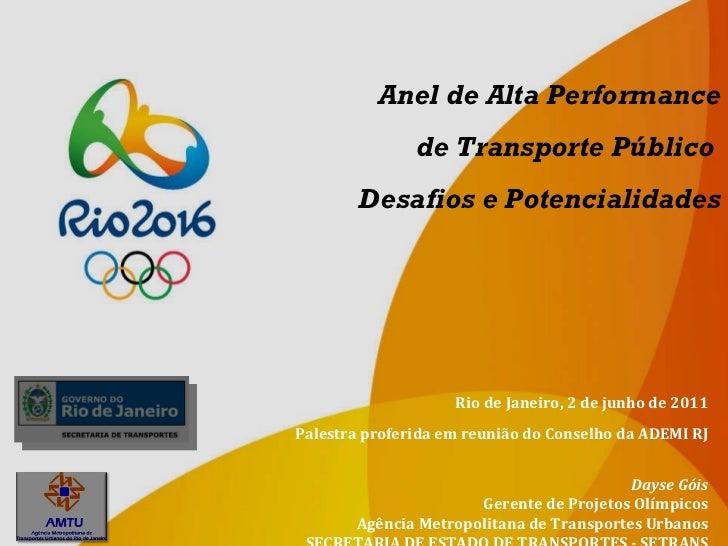 Anel de Alta Performance de Transporte Público  Desafios e Potencialidades Dayse Góis Gerente de Projetos Olímpicos Agênci...
