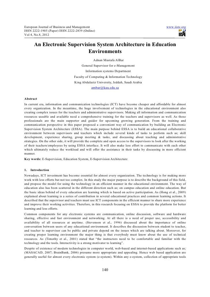 An electronic supervision system architecture in education environments