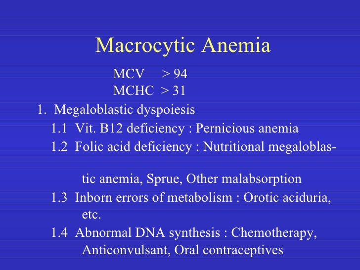 Anemia And Its Classification B12 Deficiency