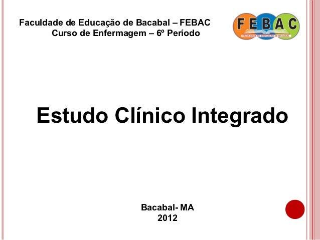 Faculdade de Educação de Bacabal – FEBAC       Curso de Enfermagem – 6º Período   Estudo Clínico Integrado                ...