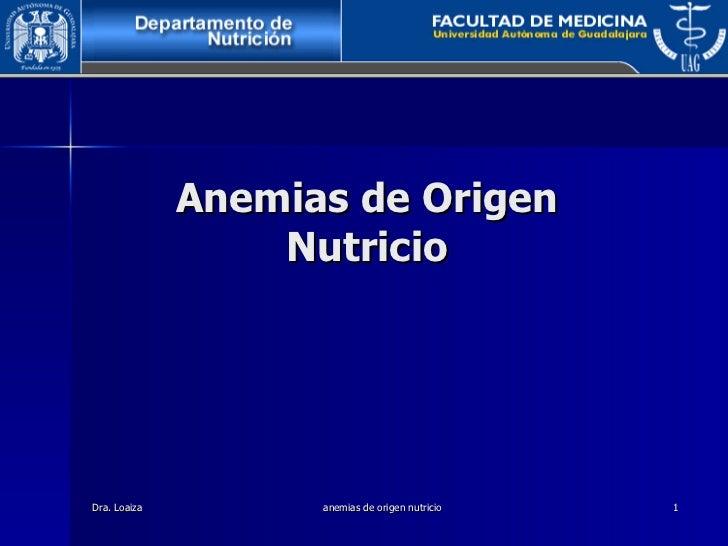 Anemias De Origen Nutricio
