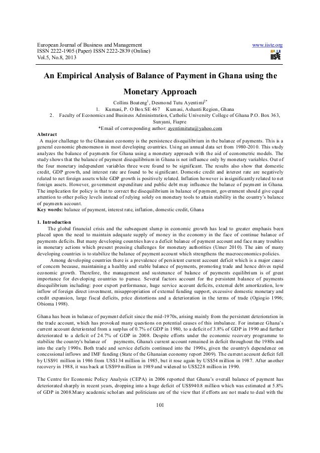 An empirical analysis of balance of payment in ghana using the monetary approach