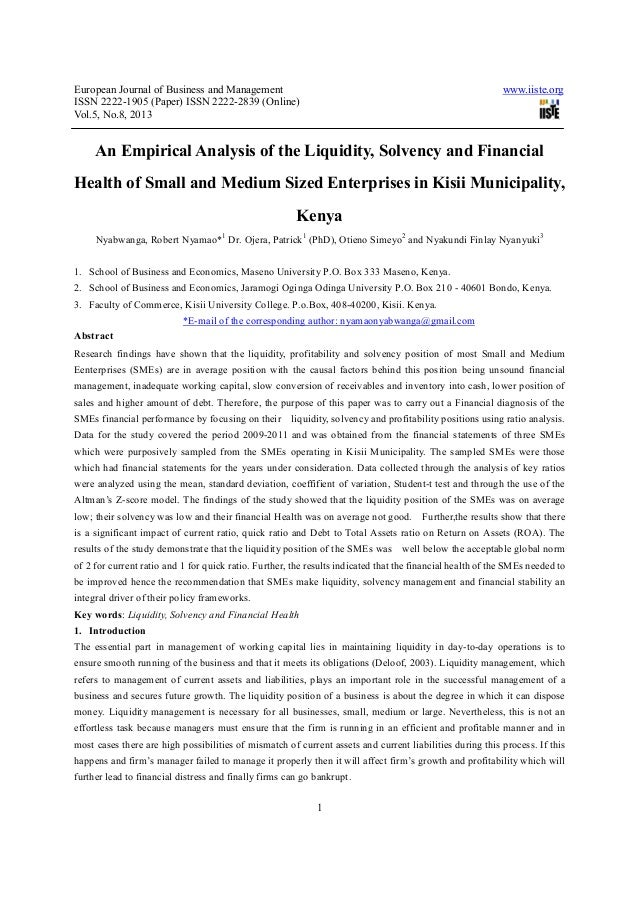 An empirical analysis of the liquidity, solvency and financial health of small and medium sized enterprises in kisii municipality, kenya