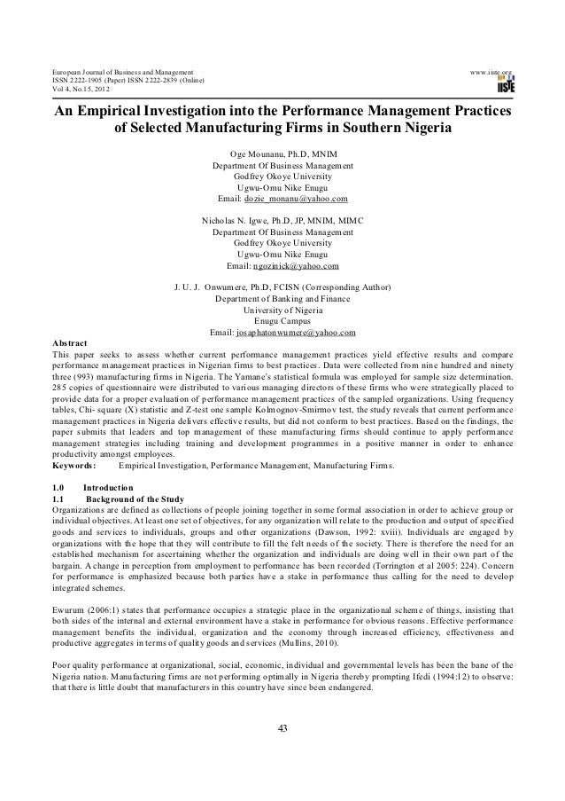 An empirical investigation into the performance management practices of selected manufacturing firms in southern nigeria