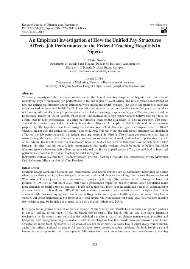 An empirical investigation of how the unified pay structures affects job performance in the federal teaching hospitals in nigeria