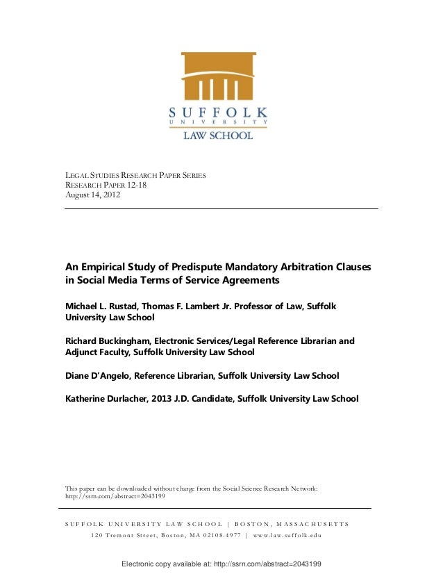 An empirical study of predispute mandatory arbitration clauses in social media terms of service agreements