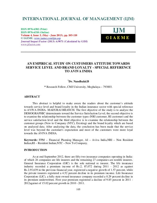 An empirical study on customers attitude towards service level and brand