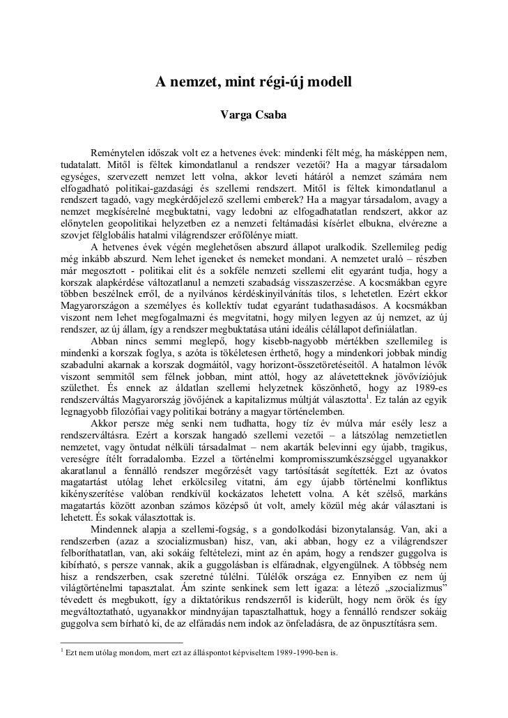 A nemzet, mint régi-új modell - Varga Csaba