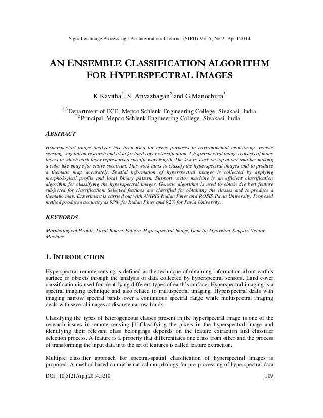 An ensemble classification algorithm for hyperspectral images