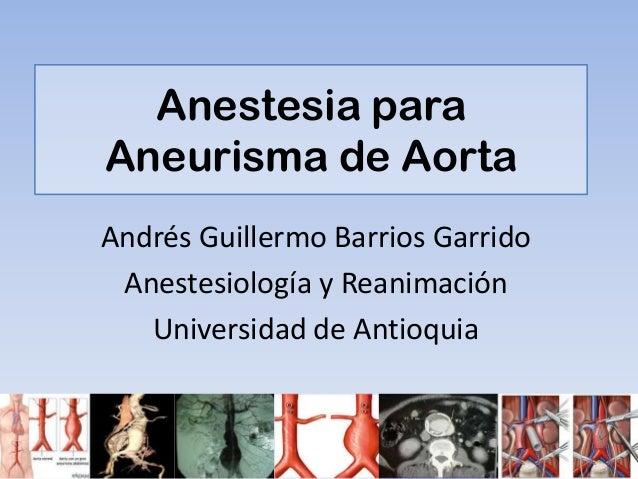 Anestesia aneurisma de aorta abdominal
