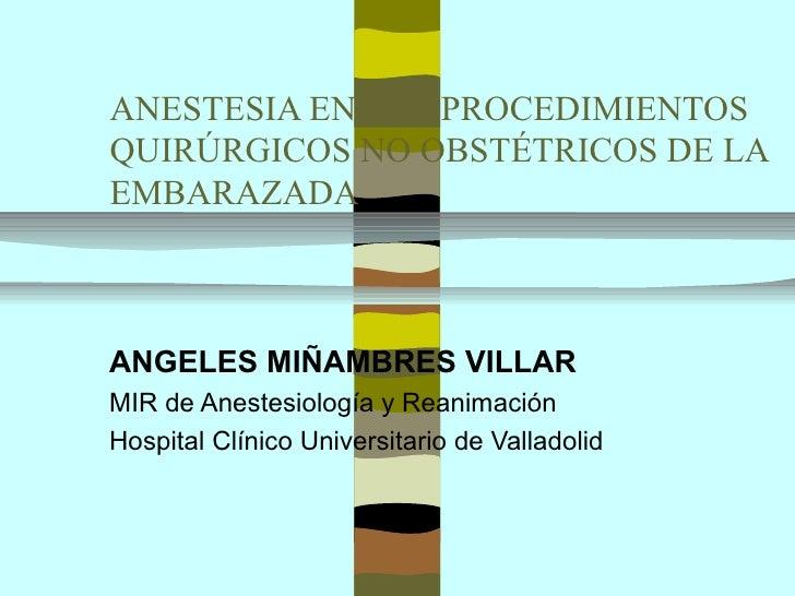 ANESTESIA EN LOS PROCEDIMIENTOSQUIRÚRGICOS NO OBSTÉTRICOS DE LAEMBARAZADAANGELES MIÑAMBRES VILLARMIR de Anestesiología y R...