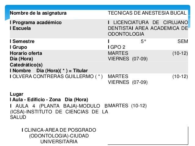 Nombre de la asignatura TECNICAS DE ANESTESIA BUCAL I Programa académico I Escuela I LICENCIATURA DE CIRUJANO DENTISTAI AR...