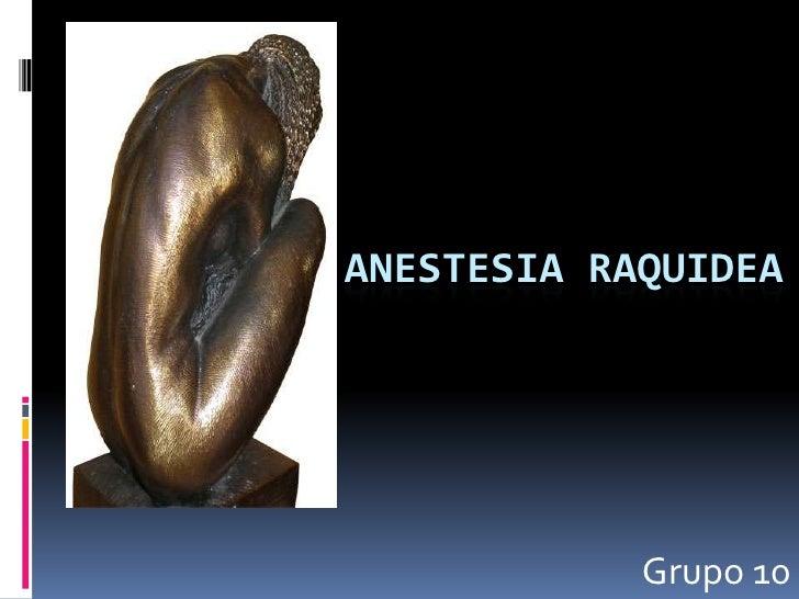 ANESTESIA RAQUIDEA<br />Grupo 10<br />
