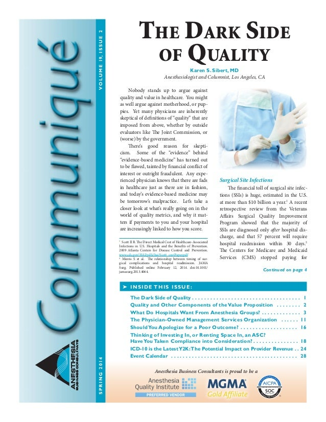 Anesthesia Business Consultants Communique Spring 2014 Edition