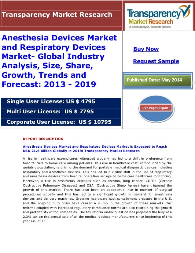 REPORT DESCRIPTION Anesthesia Devices Market and Respiratory Devices Market is Expected to Reach USD 21.6 Billion Globally...