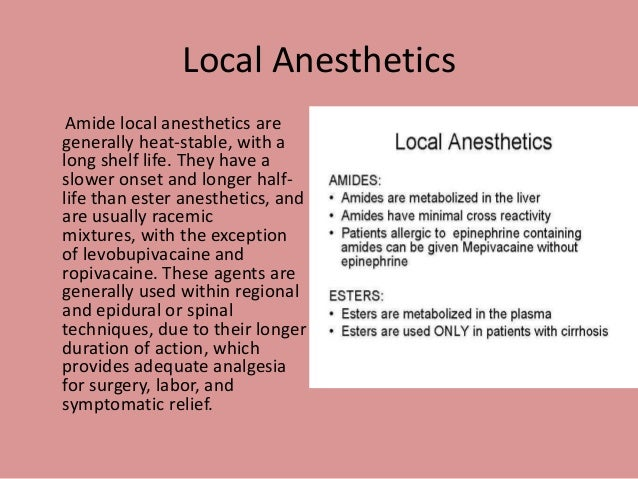 types of local anesthesia