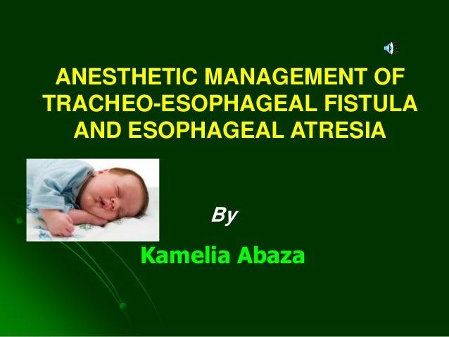 By Kamelia Abaza ANESTHETIC MANAGEMENT OF TRACHEO-ESOPHAGEAL FISTULA AND ESOPHAGEAL ATRESIA