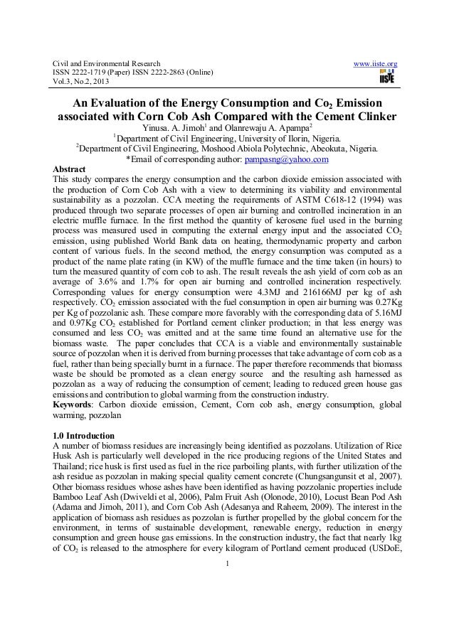 An evaluation of the energy consumption and co2 emission
