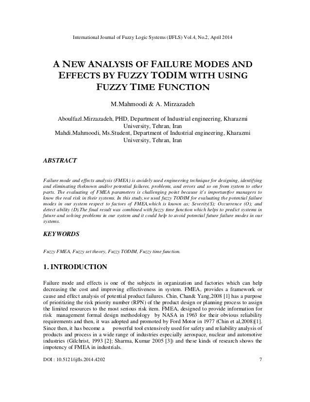 International Journal of Fuzzy Logic Systems (IJFLS) Vol.4, No.2, April 2014 DOI : 10.5121/ijfls.2014.4202 7 A NEW ANALYSI...