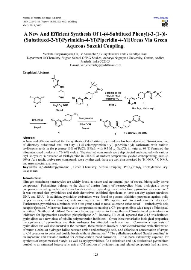 A new and efficient synthesis of 1 (4-subtitued phenyl)-3-(1-(6-(substitued-2-yl)pyrimidin-4-yl)piperidin-4-yl)ureas via green aqueous suzuki coupling