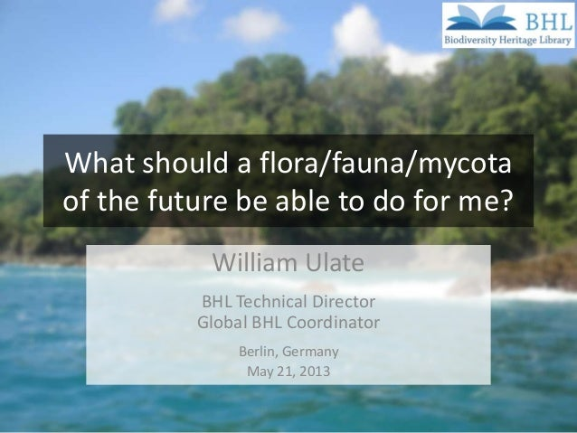 What should a flora/fauna/mycotaof the future be able to do for me?William UlateBHL Technical DirectorGlobal BHL Coordinat...
